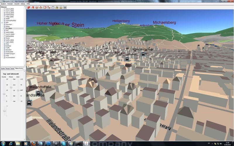 A 3D OpenStreetMap of Heidelberg.