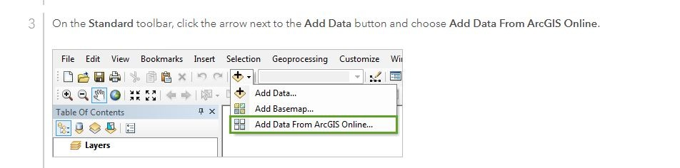 Adding data from AcrGIS Online to ArcMap.