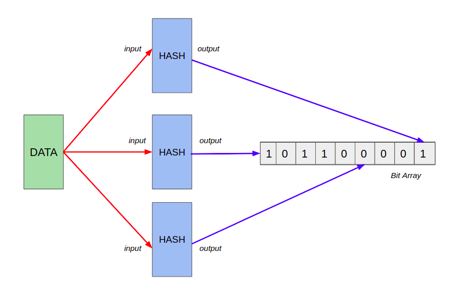 How does the data gets hashed and stored in a bit array of dynamic size?