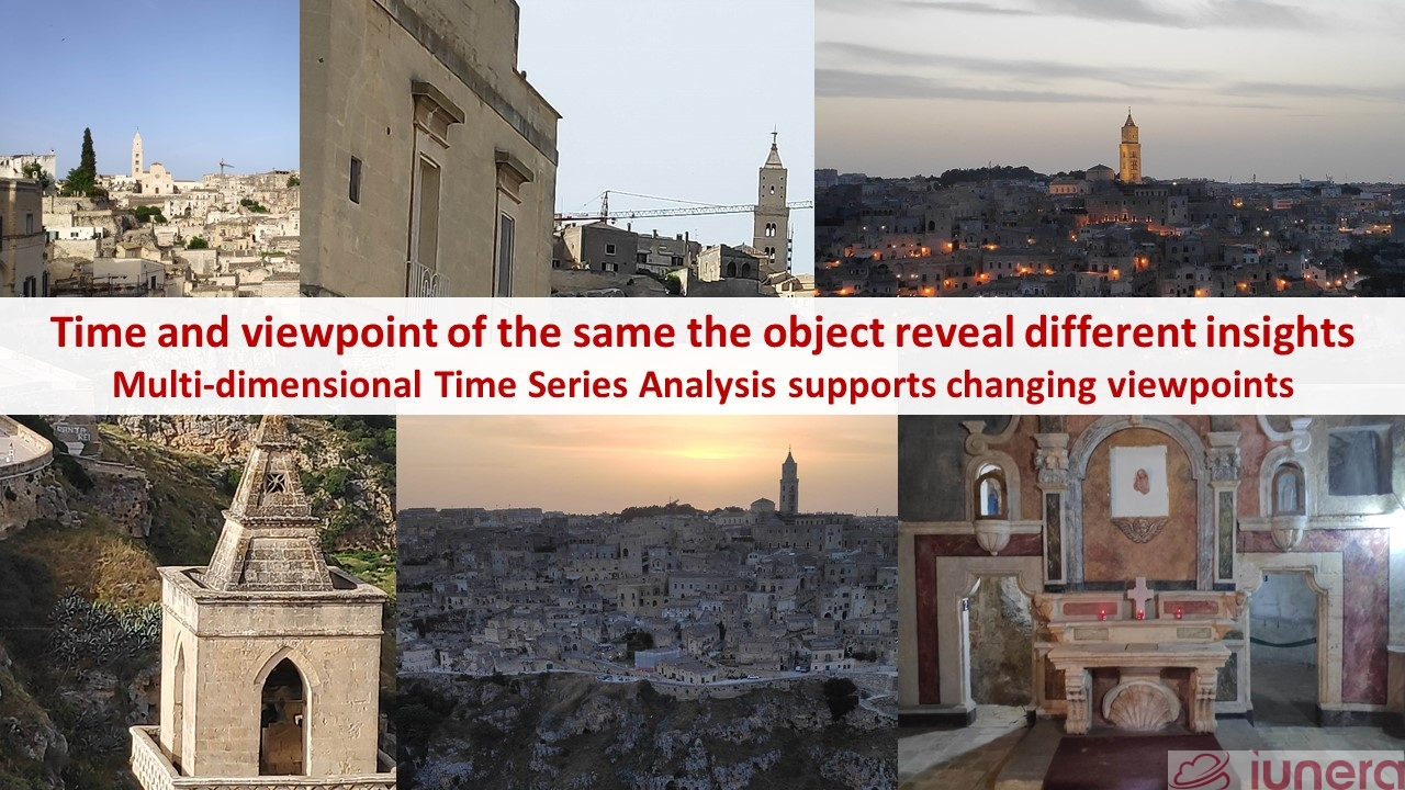 Time and viewpoint of the same the object reveal different insights Multi-dimensional Time Series Analysis supports changing viewpoints. Here we see an example based on the italian city Matera