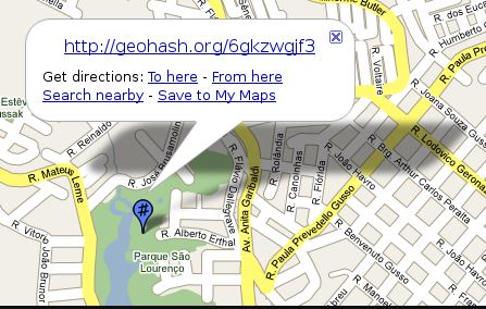 Geohash.org's embedded map with the GPX download option
