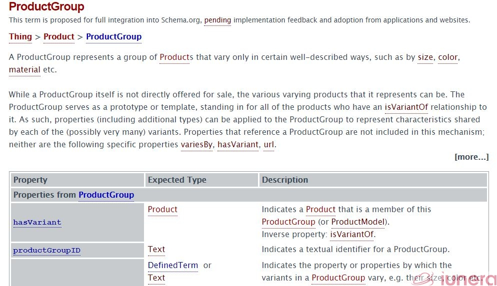 Schema.org ProductGroup