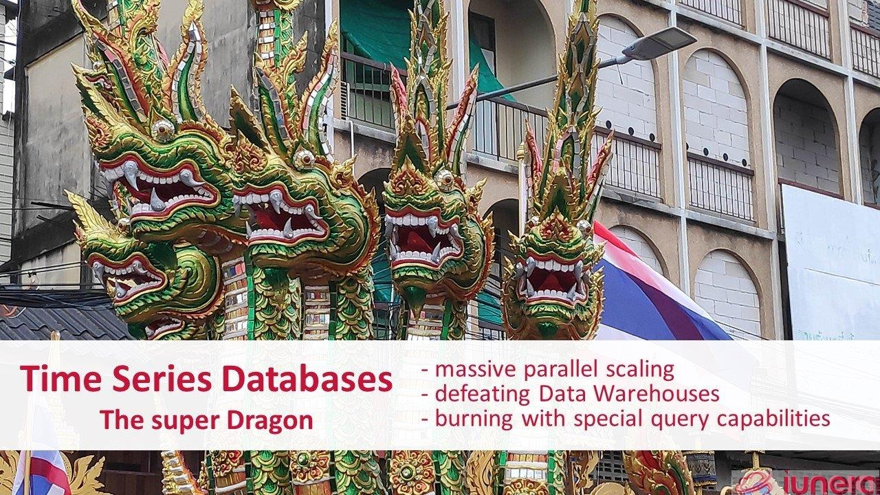 Time Series Databases - The super Dragon. They score with massive paralell scaling and defeat Data Warehouses. They burn the relational competition away with special Time Series query capabilities.
